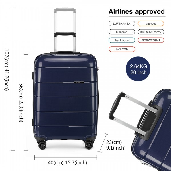 "K1997 - KONO 20-24-28"" HARD SHELL PP SUITCASE SET - NAVY"