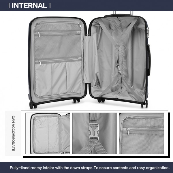 "K1997L - KONO 20-24-28"" HARD SHELL PP SUITCASE SET - NAVY"