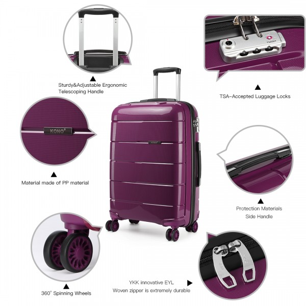 K1997L - KONO 24 INCH HARD SHELL PP SUITCASE - PURPLE