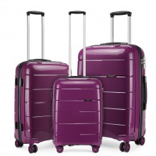 "K1997L - KONO 20-24-28"" HARD SHELL PP SUITCASE SET - PURPLE"