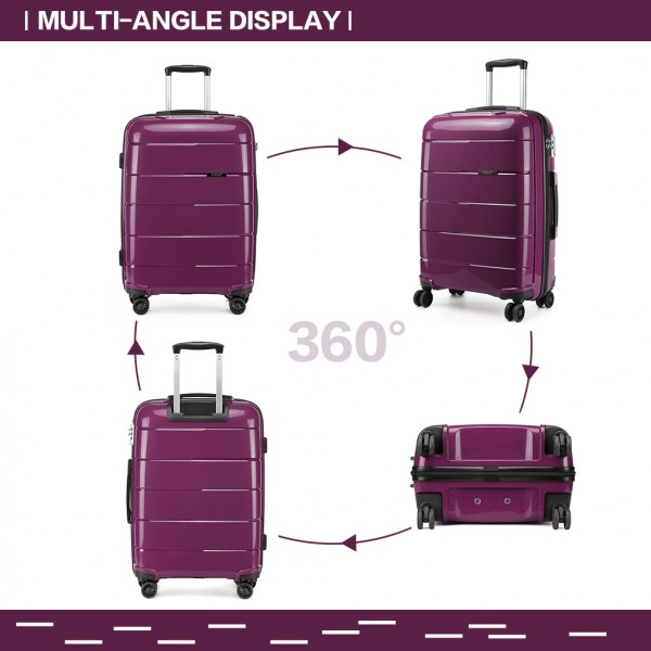 K1997L - KONO 20 INCH HARD SHELL PP SUITCASE - PURPLE