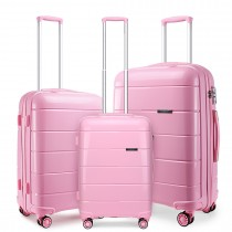K1997L - KONO 20-24-28 28 282221; HARD SHELL PP SUITCASE SET- PINK