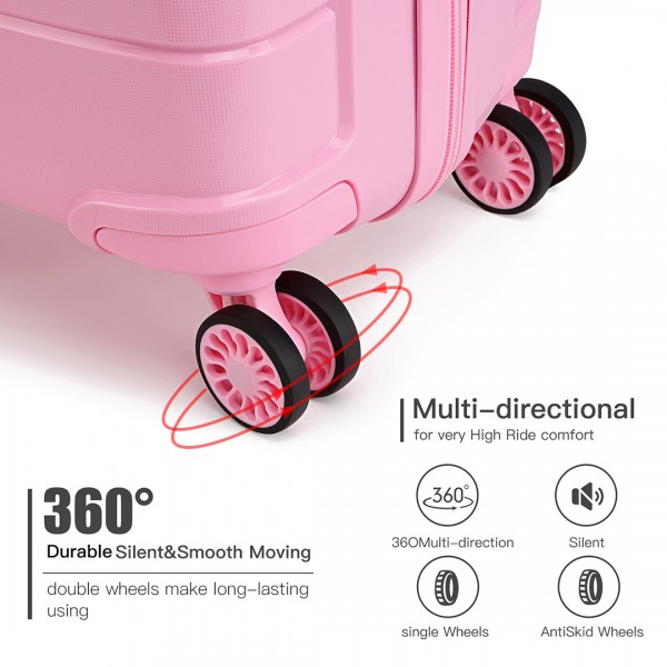K1997L - KONO 20 INCH CABIN SIZE HARD SHELL PP SUITCASE - PINK