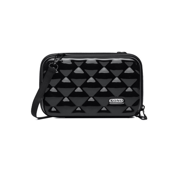 K1999 - KONO MULTIFACETED DIAMOND TRAVEL CLUTCH - BLACK
