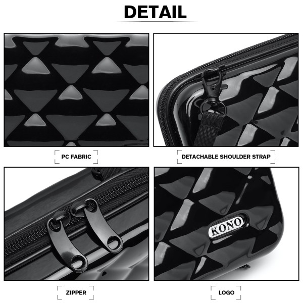 K1999 - KONO MULTIFACETED DIAMOND TRAVEL CLUTCH - BLACK
