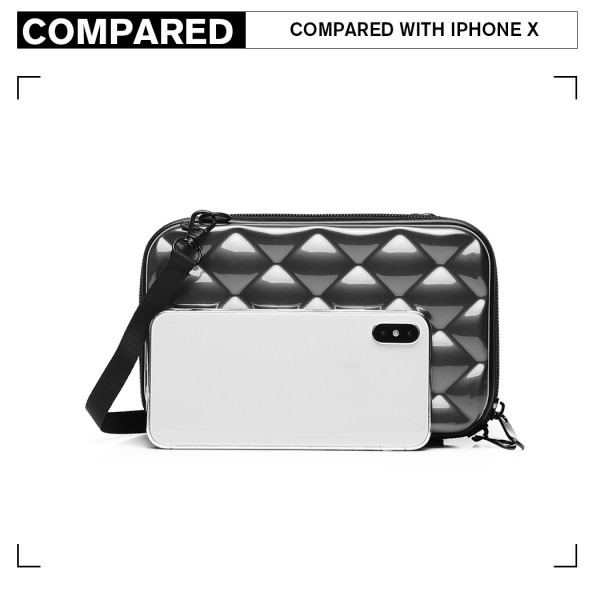 K1999 - KONO MULTIFACETED DIAMOND TRAVEL CLUTCH - GREY