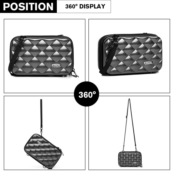 K1999L KONO MULTIFACETED DIAMOND TRAVEL CLUTCH GRAU