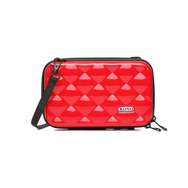 K1999 - KONO MULTIFACETED DIAMOND TRAVEL CLUTCH - RED