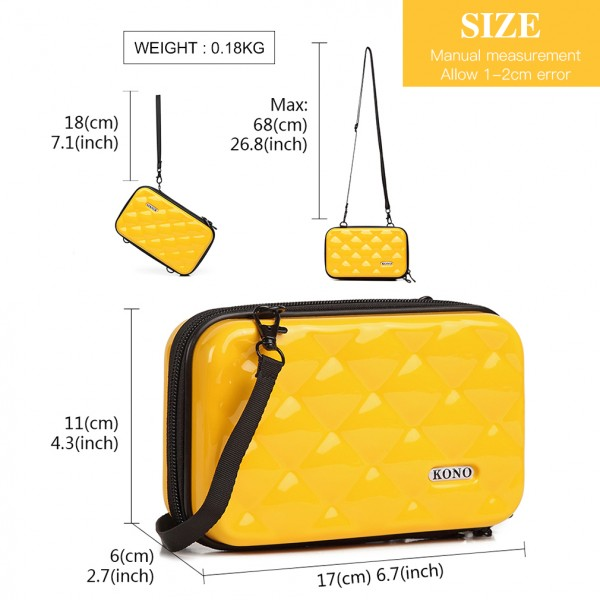 K1999 - KONO MULTIFACETED DIAMOND TRAVEL CLUTCH - YELLOW