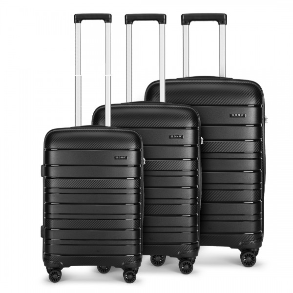 K2091L - Kono Multi Texture Hard Shell PP Suitcase 3 Pieces Set - Classic Collection - Black