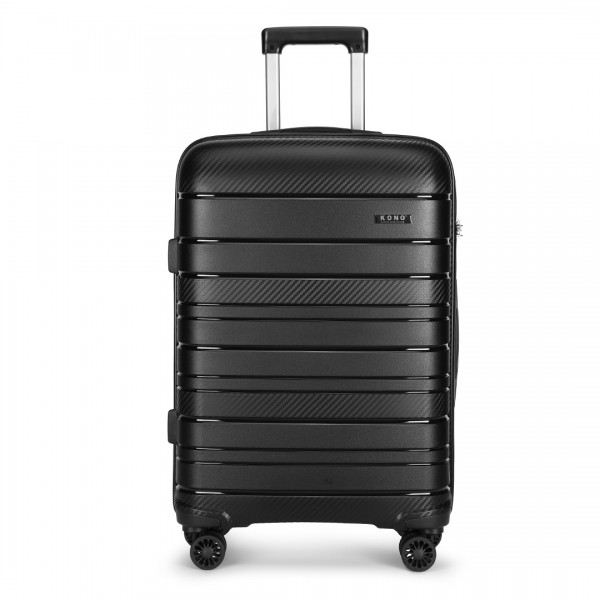 K2091L - Kono 24 Inch Multi Texture Hard Shell PP Suitcase - Classic Collection - Black
