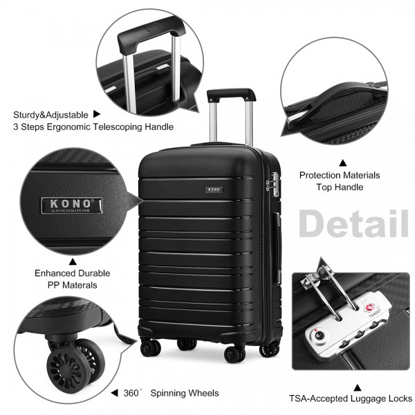 K2091L - Kono 20 Inch Multi Texture Hard Shell PP Suitcase - Classic Collection - Black