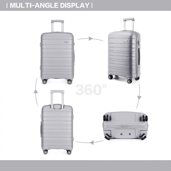 K2091L - Kono 24 Inch Multi Texture Hard Shell PP Suitcase - Classic Collection - Grey