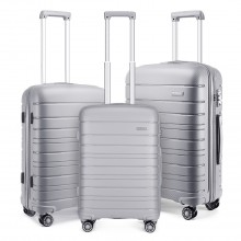 K2091L - Kono Multi Texture Hard Shell PP Suitcase 3 Pieces Set - Classic Collection - Grey