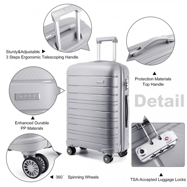 K2091L - Kono 28 Inch Multi Texture Hard Shell PP Suitcase - Classic Collection - Grey