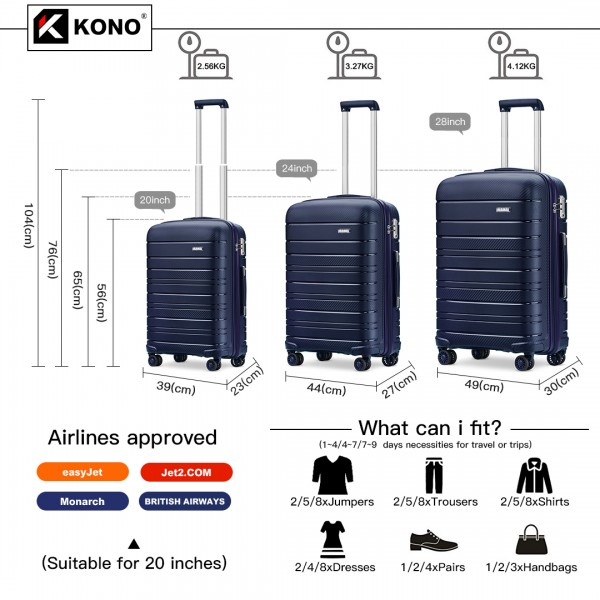K2091L - Kono Multi Texture Hard Shell PP Suitcase 3 Pieces Set - Classic Collection - Navy