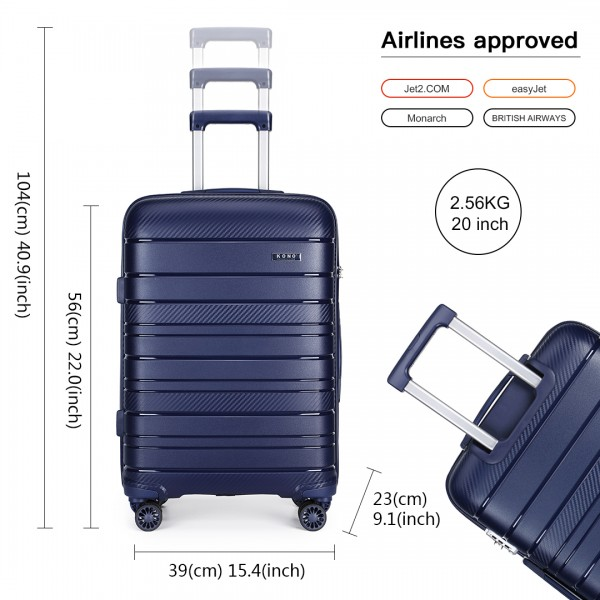K2091L - Kono 20 Inch Multi Texture Hard Shell PP Suitcase - Classic Collection - Navy