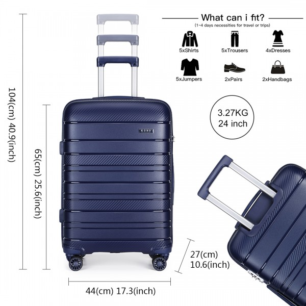 K2091L - Kono 24 Inch Multi Texture Hard Shell PP Suitcase - Classic Collection - Navy