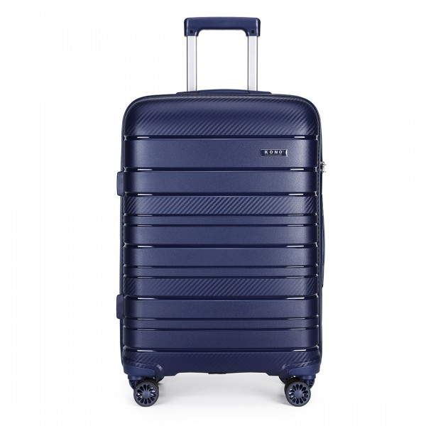 K2091L - Kono 28 Inch Multi Texture Hard Shell PP Suitcase - Classic Collection - Navy