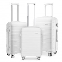 K2091L - Kono Multi Texture Hard Shell PP Suitcase 3 Pieces Set - Classic Collection - White
