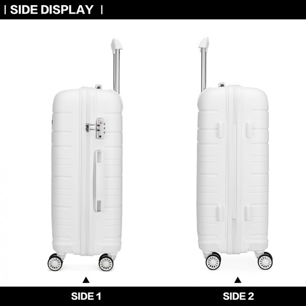 K2091L - Kono 28 Inch Multi Texture Hard Shell PP Suitcase - Classic Collection - White