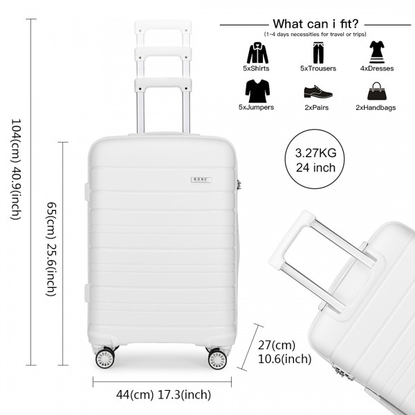K2091L - Kono 24 Inch Multi Texture Hard Shell PP Suitcase - Classic Collection - White
