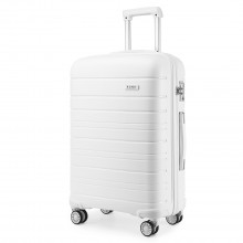 K2091L - Kono 20 Inch Multi Texture Hard Shell PP Suitcase - Classic Collection - White