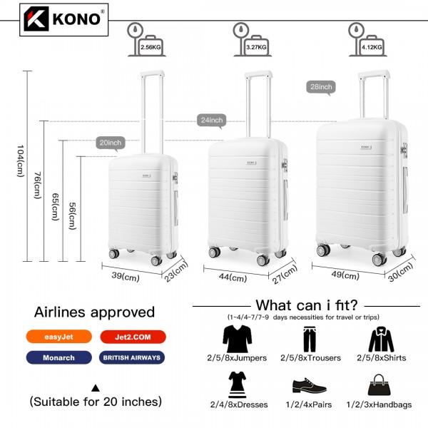K2091L - Kono Multi Texture Hard Shell PP Suitcase 3 Pieces Set - Classic Collection - White