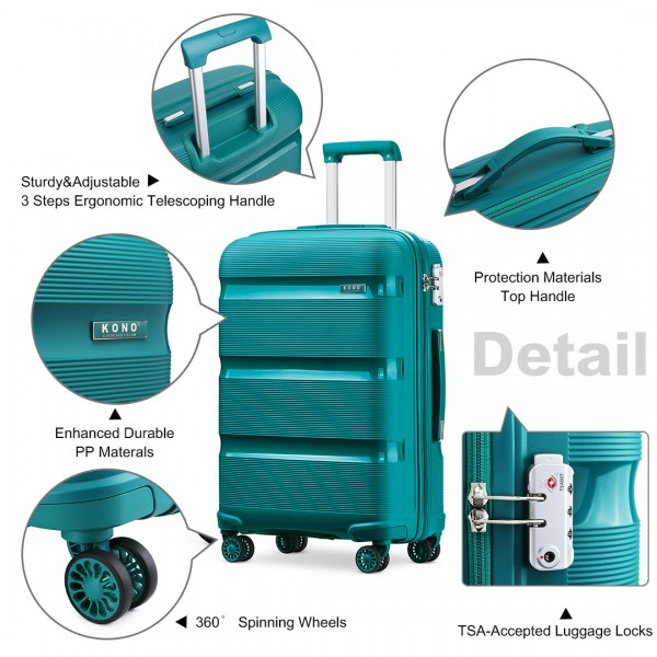 K2092 - Kono Bright Hard Shell PP Suitcase 3 Pieces Set - Classic Collection - Blue/Green