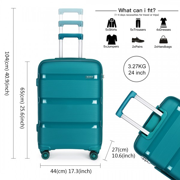 K2092 - Kono 24 Inch Bright Hard Shell PP Suitcase - Classic Collection - Blue/Green