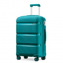 K2092 - Kono 20 Inch Cabin Size Bright Hard Shell PP Suitcase - Classic Collection - Blue/Green