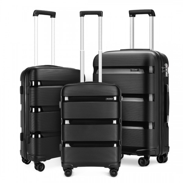 K2092 - Kono Bright Hard Shell PP Suitcase 3 Pieces Set - Classic Collection - Black