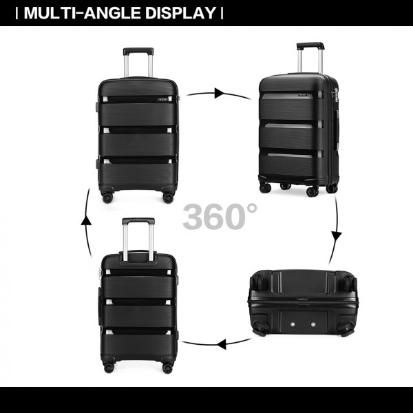 K2092 - Kono 28 Inch Bright Hard Shell PP Suitcase - Classic Collection - Black