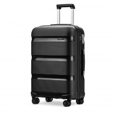 K2092 - Kono 20 Inch Bright Hard Shell PP Suitcase - Classic Collection - Black