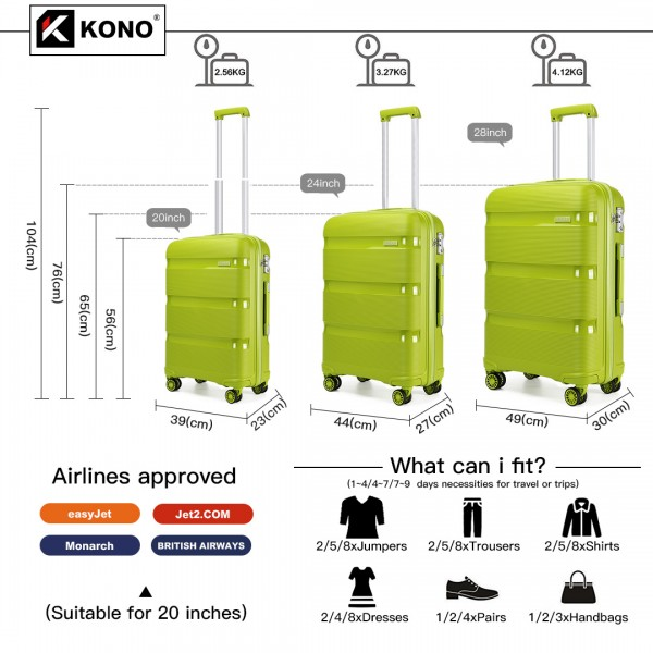 K2092 - Kono Bright Hard Shell PP Suitcase 3 Pieces Set - Classic Collection - Green