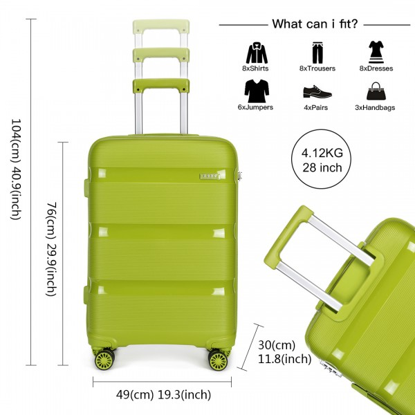 K2092 - Kono 28 Inch Bright Hard Shell PP Suitcase - Classic Collection - Green