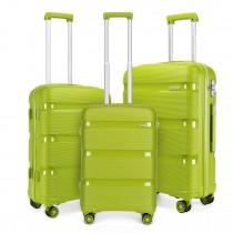K2092 - Juego de 3 piezas de maleta Kono Bright Hard Shell PP - Colección Classic - Verde