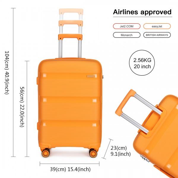K2092 - Kono 20 Inch Bright Hard Shell PP Suitcase - Classic Collection - Orange