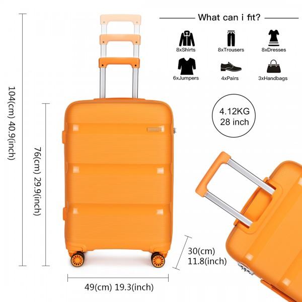 K2092 - Kono 28 Inch Bright Hard Shell PP Suitcase - Classic Collection - Orange