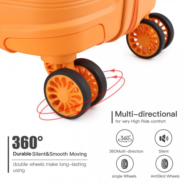 K2092 - Kono Bright Hard Shell PP Suitcase 3 Pieces Set - Classic Collection - Orange