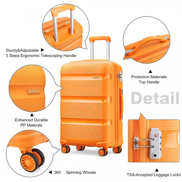 K2092 - Kono 24 Inch Bright Hard Shell PP Suitcase - Classic Collection - Orange