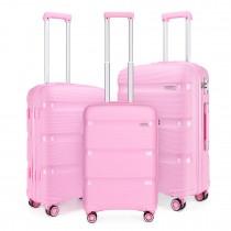 K2092 - Juego de 3 piezas de maleta Kono Bright Hard Shell PP - Colección Classic - Rosa