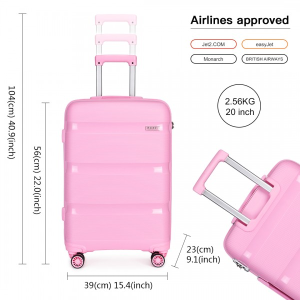 K2092 - Kono 20 Inch Bright Hard Shell PP Suitcase - Classic Collection - Pink