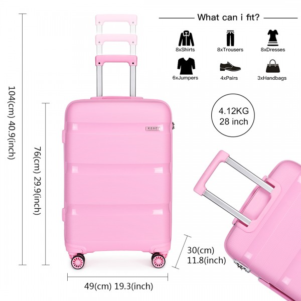 K2092 - Kono 28 Inch Bright Hard Shell PP Suitcase - Classic Collection - Pink