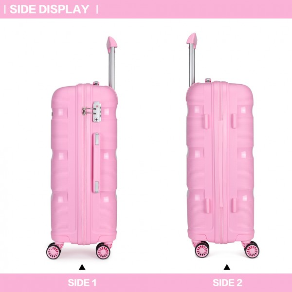 K2092 - Kono 24 Inch Bright Hard Shell PP Suitcase - Classic Collection - Pink