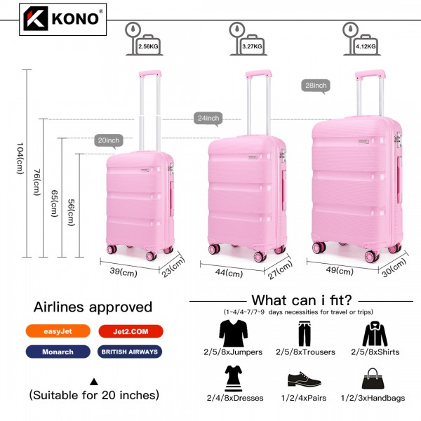 K2092 - Kono Bright Hard Shell PP Suitcase 3 Pieces Set - Classic Collection - Pink