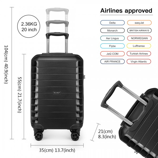 K2093 - Kono Cabin Size Classic Collection Polypropylene Luggage with Charging Interface - Black