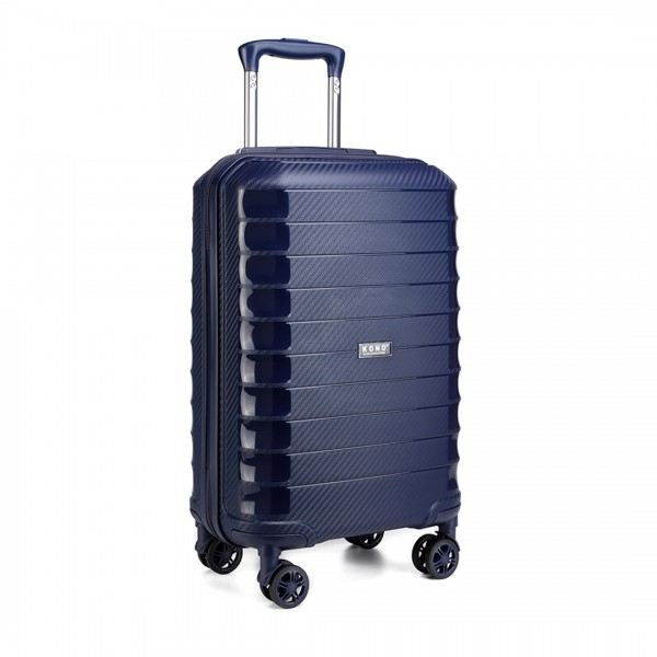 K2093 - Kono Cabin Size Classic Collection Polypropylene Luggage with Charging Interface - Navy Blue