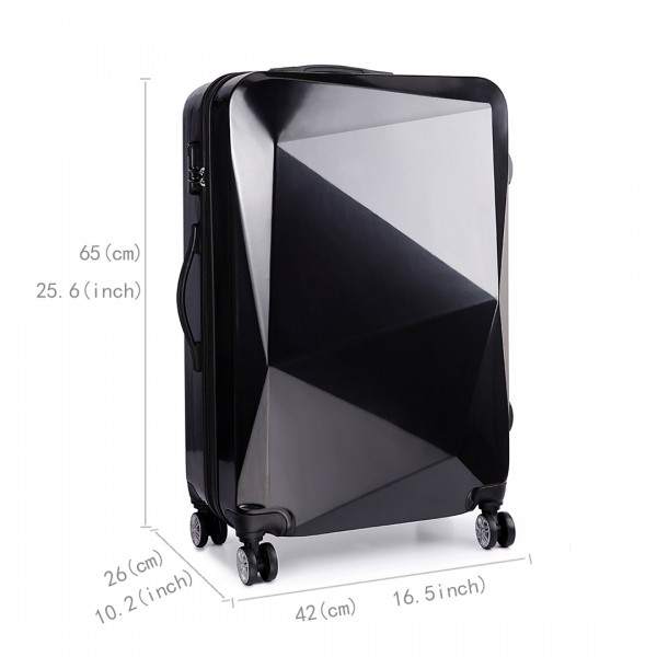 K6671L - KONO hard shell suitcase diamond design 24 inch luggage BLACK