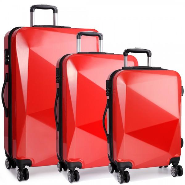 K6671L - Kono Hard Shell Suitcase Diamond Design 3 Piece Luggage Set Red
